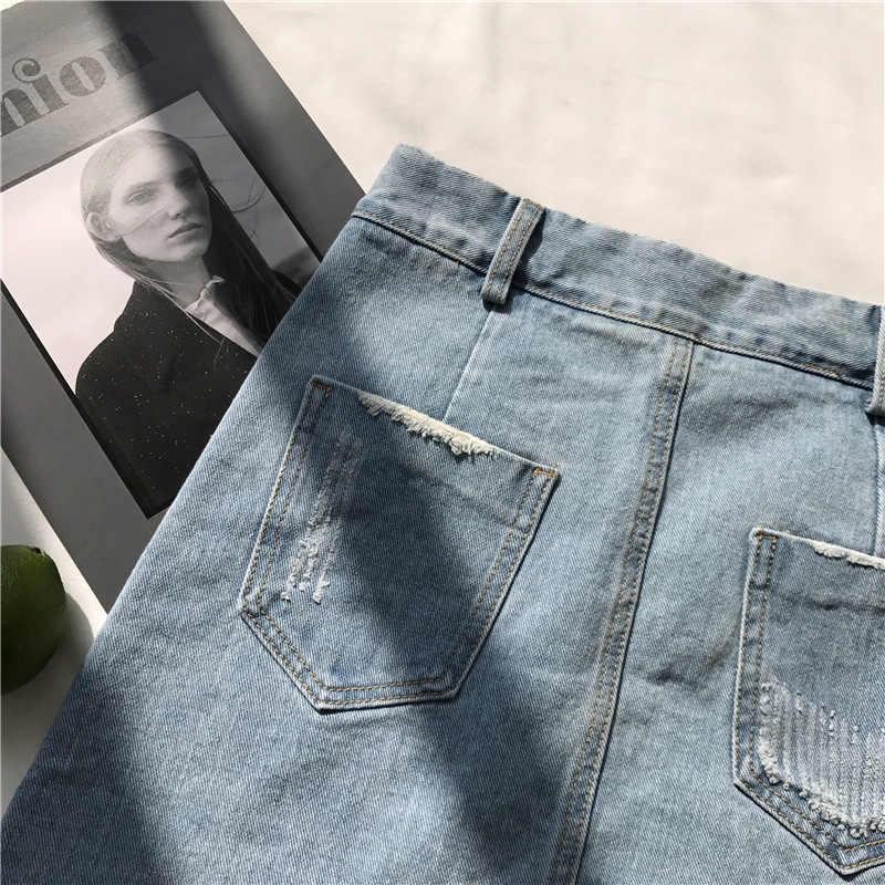 2019 koreański kobiety nieregularne denim spódnica kobiety lato nowy Bodycon kieszeń przycisk dżinsy spódnica kobiety wysoka talia ołówkowa spódnica mini