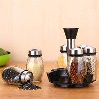 7Pcs/Set Steel Glass Cruet Condiment Spice Jars Set Salt Pepper Shakers Seasoning Sprays Rotating Stainless