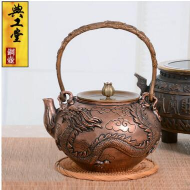 2018 new style 1.4L Dragon and Phoenix copper pot copper kettle handmade tea pot Japanese teapot thick cast Free shipping