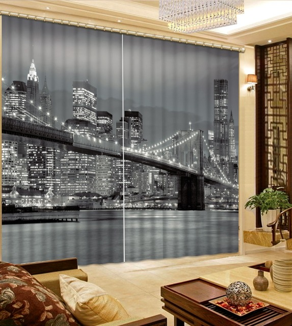 Photo 3d Curtains City Building Night Living Room Bedroom Curtains