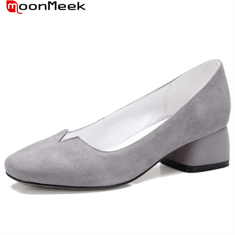 ФОТО MoonMeek New arrive med heels work shoes office lady fashion comfortable women pumps shallow square toe three colors spring