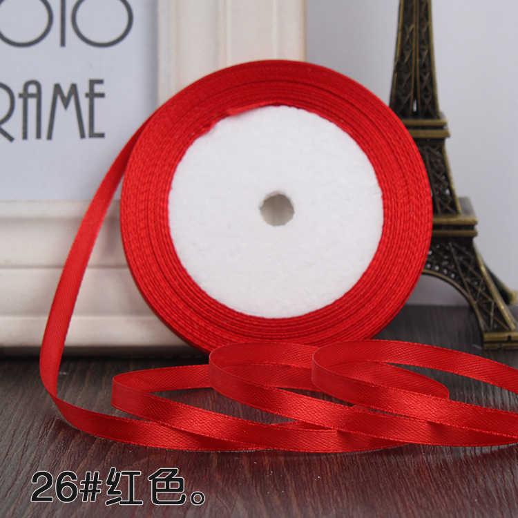 0.6 ซม. 22 เมตร Lone ซาตินซาตินริบบิ้นขายส่งของขวัญงานฝีมืองานแต่งงานคริสต์มาสสีขาวสีชมพูสีแดงริบบิ้นสีดำ