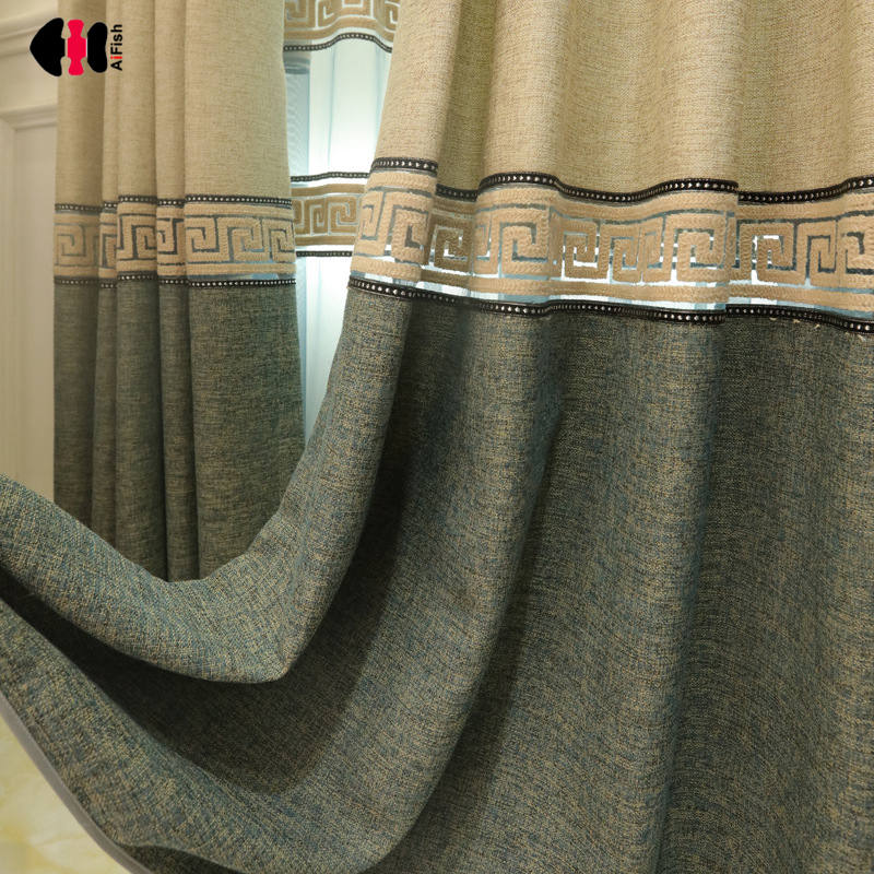 Huayin Velvet Linen Curtains Tulle Window Curtain For: European Stitching Curtains For Living Room Cotton Linen