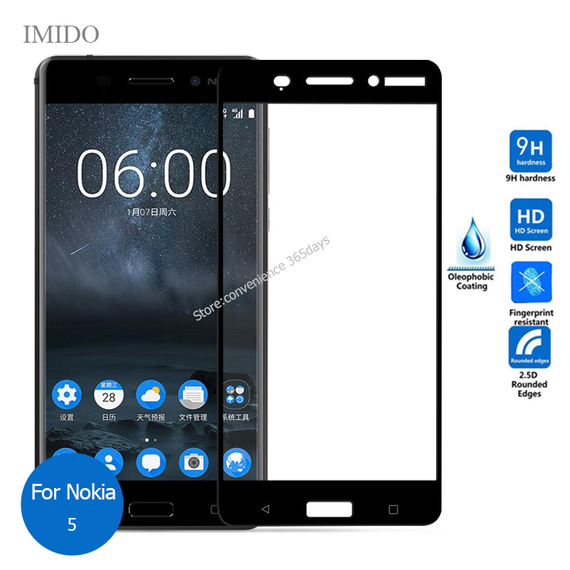 For <font><b>Nokia</b></font> 5 Full Cover Tempered Glass Screen Protector 2.5 All Coverage Safety Film on Nokia5 TA-1024 TA-1027 TA-<font><b>1053</b></font> Ta1053 image