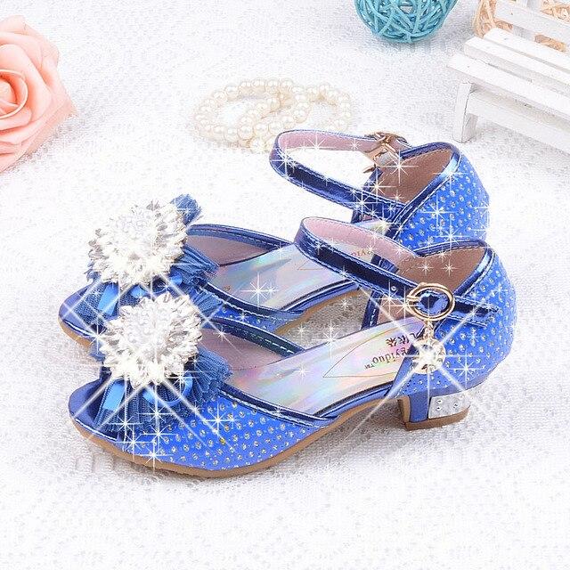 Дети девушки сандалии мода принцесса обувь летом каблуке сандалии девушки горный хрусталь ну вечеринку обувь детская сандалии