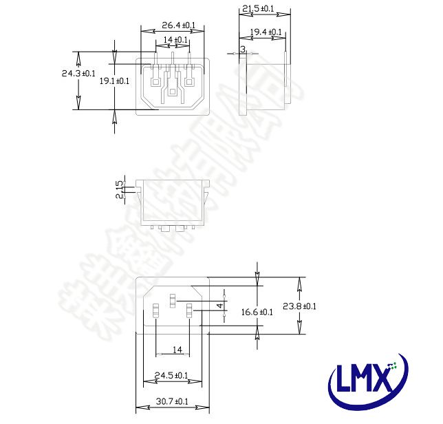 10Pcs/lot Hot Sale Black Color 3 Pin Power Socket IEC AC