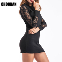 Knitted Dress Women Lace Patchwork Long Sleeve Sheath Mini Dresses 2018 Fashion Spring Autumn Fitness Basic Dress Female Clothes