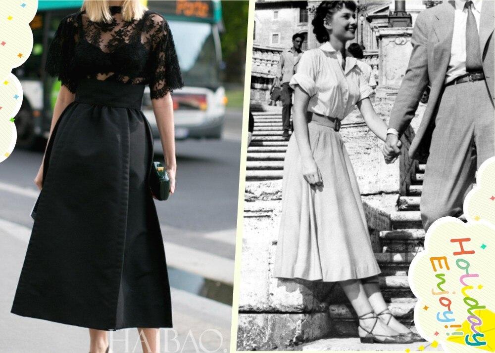 40-летние женские винтажные 50 s Одри Хепберн Высокая талия с бантом Пышная юбка в черном Рокабилли Юбки большого размера saias femininas saia