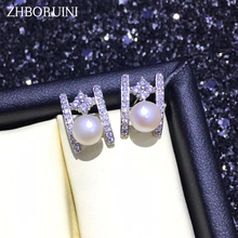 ZHBORUINI Fashion Pearl Earrings Jewelry Zircon Earring Freshwater 925 Silver For Women Accessories Gift