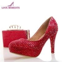 Модные туфли со стразами на высоком каблуке красного цвета с сумочкой в комплекте Свадебные вечерние туфли Золушки для выпускного туфли ло