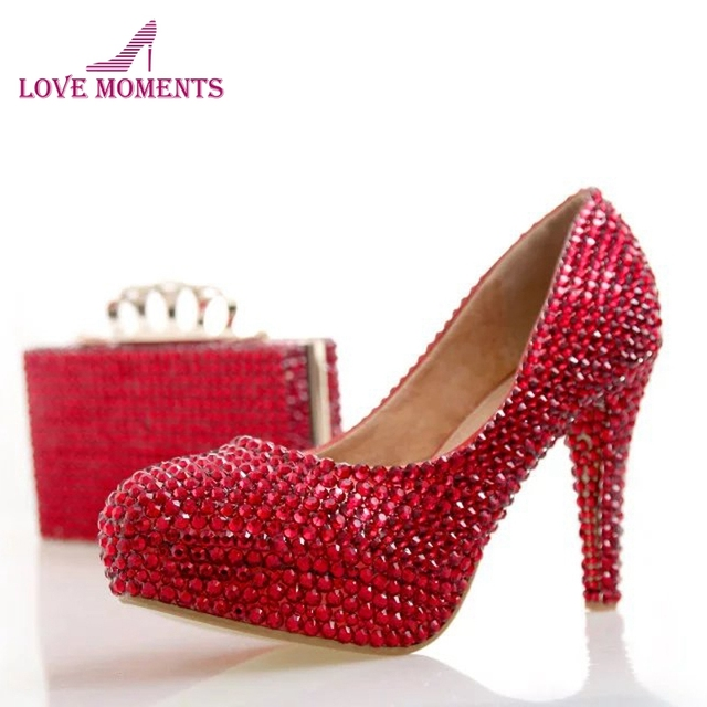 Fashion Rhinestone High Heel Shoes Red Color with Matching Bag Wedding  Party Shoes Cinderella Prom Pumps Bridal Dress Shoes edd846b263a1