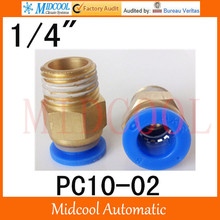 Quick connector PC10-02,10mm to 1/4″ male pass-through, brass pneumatic components