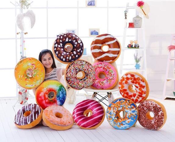 1 pcs Donuts Pillow Chocolate Soft Seat Cushion Plush Nap Pillow Car Mats Creative Toy Children gifts