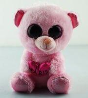 6 15cm Ty Beanie Boos Bear Plush Stuffed Toys Glitter Pink Eyes Animal Girl Gift