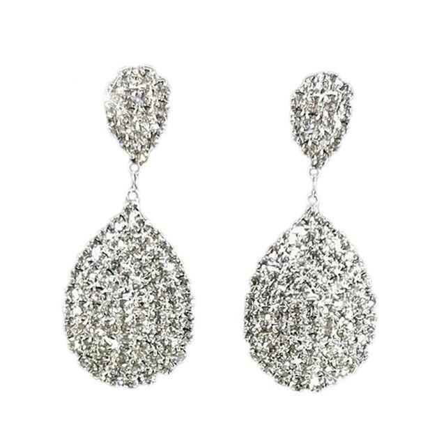 Summer Style Bling Crystal Clear Rhinestone Teardrop Dangle Earrings Women Wedding Jewelry Engagement