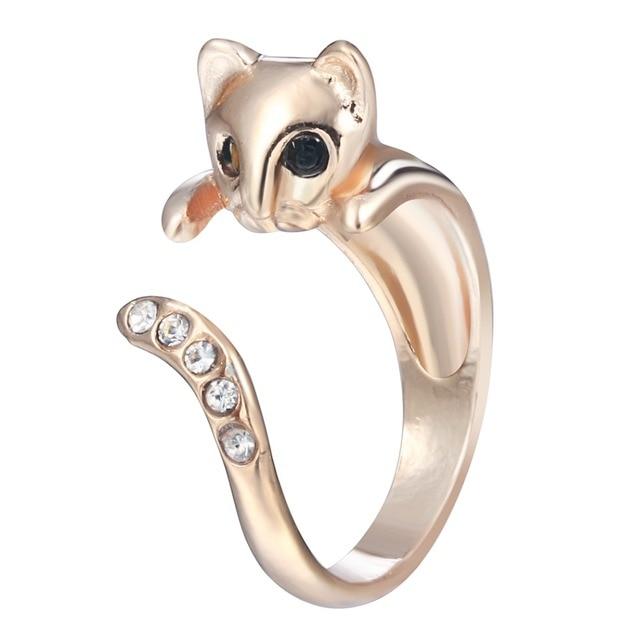 Free Size Cute Rhinestone Cat Rings Kitty Kitten Clear Tail Funny Wedding For Women