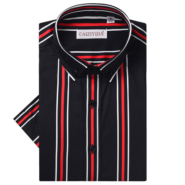 Мужская хлопковая рубашка в разноцветную полоску, удобная классическая рубашка в стиле смарт кэжуал, с короткими рукавами, воротником на пуговицах, не требует особого ухода