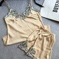 Camisola das mulheres Pijamas set com curta two-Piece Cetim Sleepwear Deslizamento Lace Chemises Camisola
