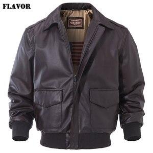 Image 2 - FLAVOR Mens Real Leather Bomber Jacket Men Lambskin Genuine Leather Jacket Pilot Air Force Removable Hood Warm Aviator Coat