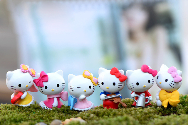 cartoon animal kawaii bowknot cat garden figures fairy garden miniatures cut cat toys miniature accessories  home decoration 4