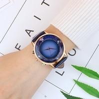 GUOU Watches Women Luxury Diamond Quartz Women's Watch Fashion Exquisite Soft Leather Ladies Watches Clock saat relogio feminino