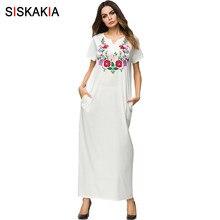 71d63e367f11c1 Siskakia Wit Bloemen Borduren maxi lange jurk urban casual slim fit t-shirt jurken  Korte Elegante Moslim Ramadan kleding