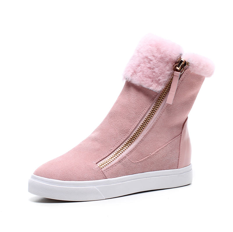 Image 5 - FEDONAS Top Quality Cow Suede Genuine Leather Warm Wool+Plush Snow Boots Women Wedges Heels Zipper Ankle Boots Shoes Woman-in Ankle Boots from Shoes