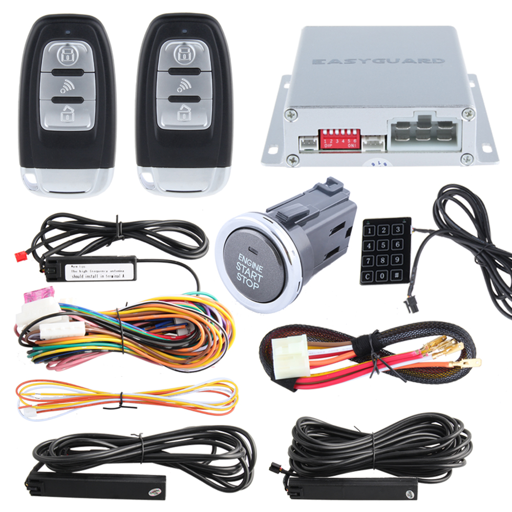 High quality  PKE car alarm kit with remote engine start/stop and push button start stop, Touch password entry DC12V