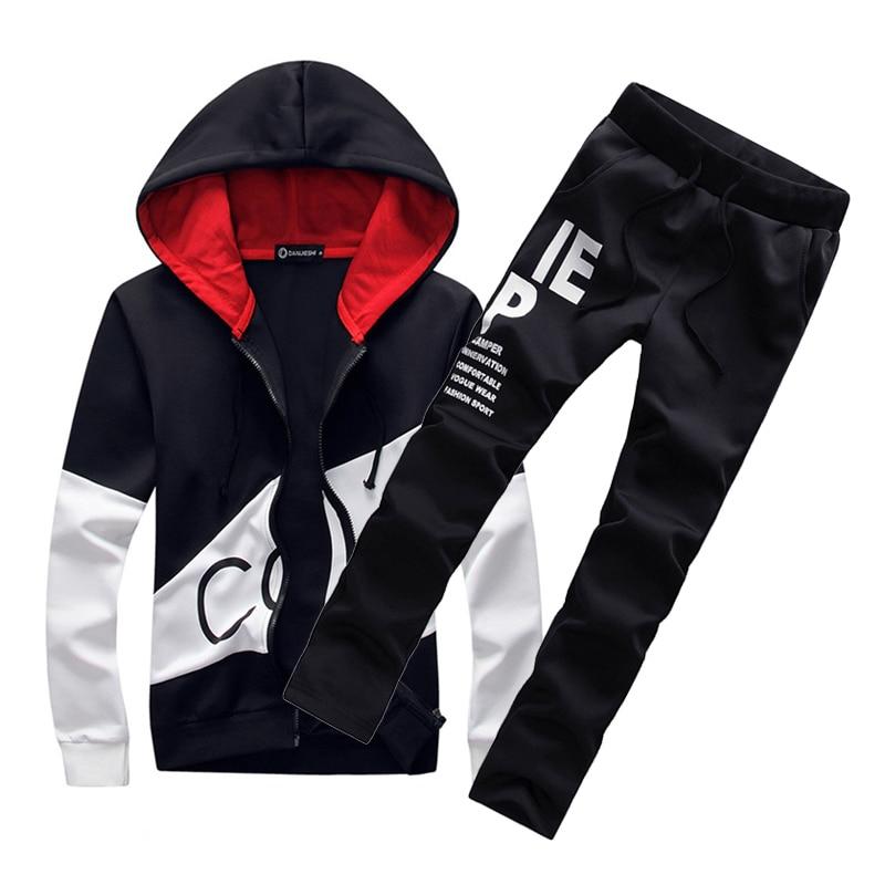 M 5XL Plus Size Fashion Brand Men Sets hooded tracksuit track 2018 sweat suits letter print