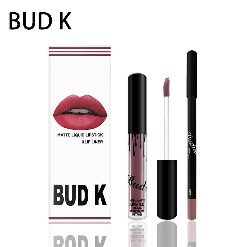 Bud K Matte Lipstick Waterproof Liquid Makeup Lipkit Set Cosmetics Nude Candy K Long Lasting Rouge A Levre Mat Lip Gloss