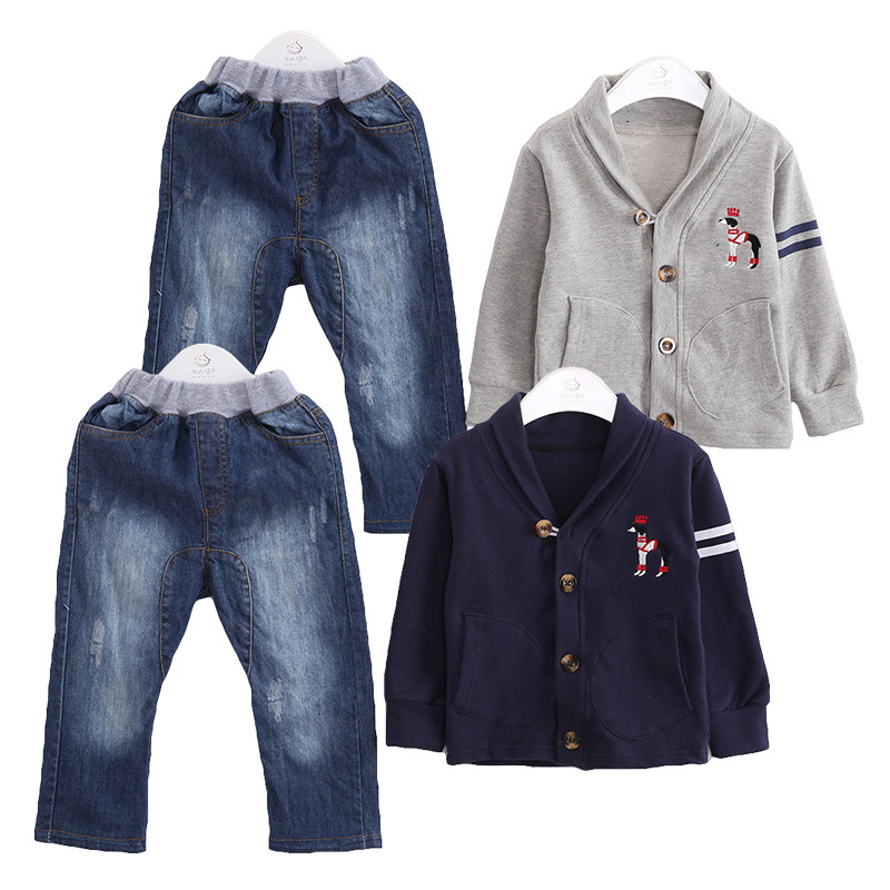 ФОТО Anlencool 2017 new Korean wave spring models boy suit lining opening paragraph Male baby sporty two - pieces denim clothing