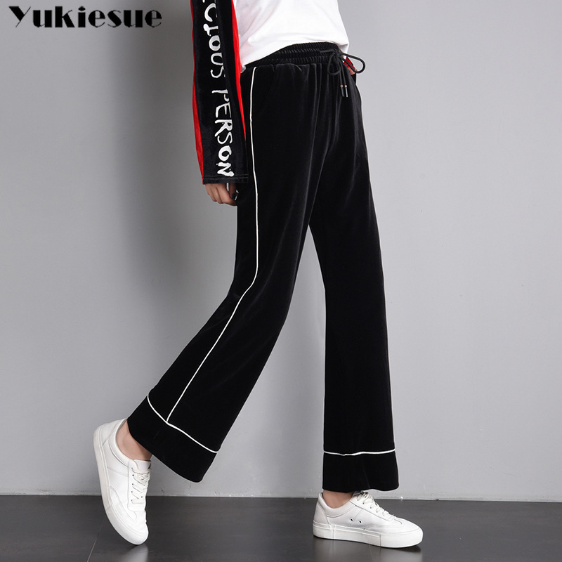 harajuku women's toursers velvet pleche wide leg   pants   for women straight   pants     capris   with high waist OL office streetwear