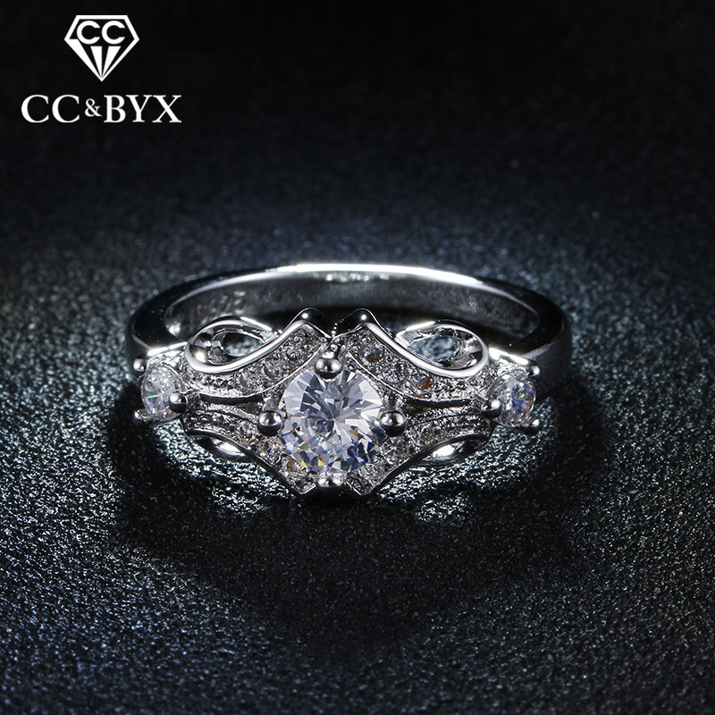 CC Jewellery Beautiful Wedding Engagement Rings for Women Anillos Flower Rings Luxury Jewelry Bijoux Vintage Accessories CC025