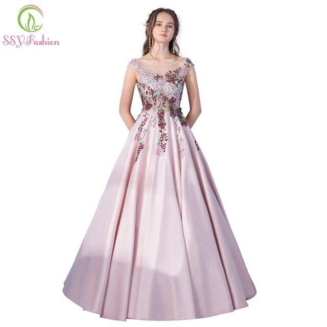 Ssyfashion новый роскошный Атлас длинное вечернее платье невесты для  торжеств элегантный розовый Кружево Аппликации длиной до 921e69e690824