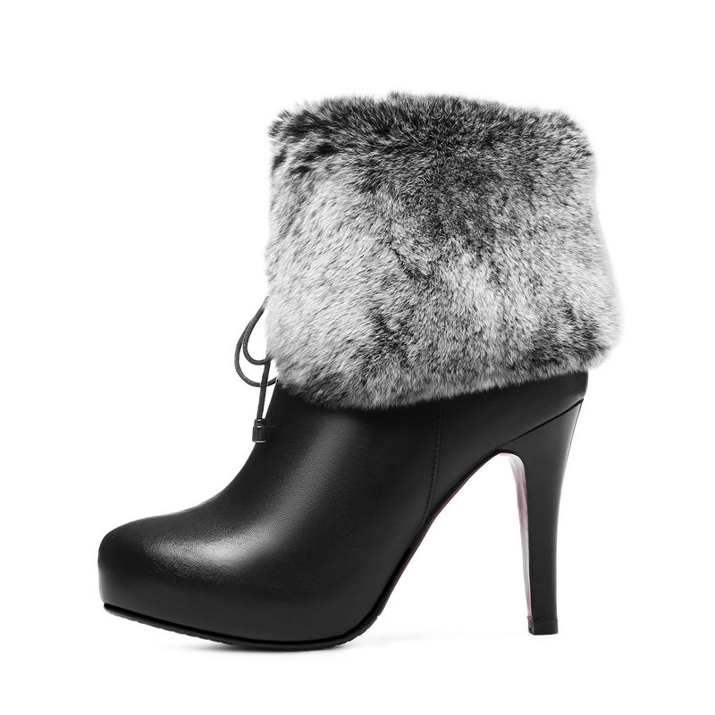 Nouveau Solide Cheville black Mode Talons Véritable Femmes Mince 2018 Bottes Cuir Bout Arrivent Pour White Asumer Hiver En Pointu Haute ZwB5Fqx6PW