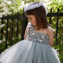 cd0e88bd333b2 Yeni 2017 Tül Gri Bebek Nedime Çiçek Kız Düğün Elbise kabarık Balo ABD Doğum  Günü Akşam Balo Bez Tutu Parti elbise