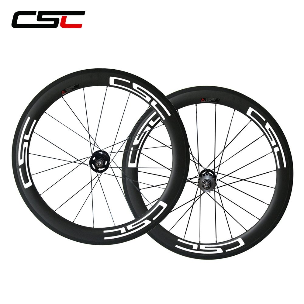 CSC 23mm Width 60mm Tubular carbon Track bike wheels set aero spokes