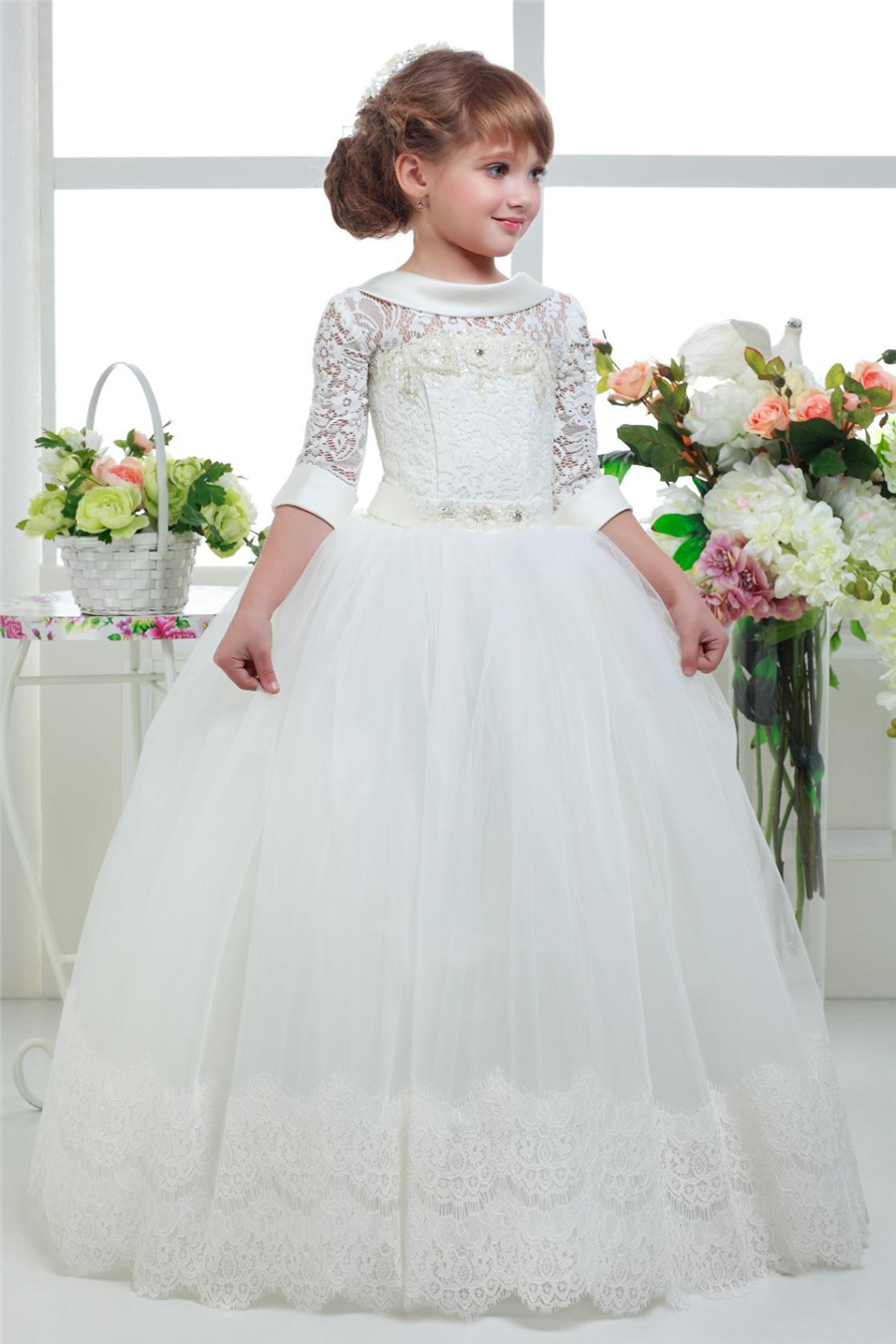 2017 Three Quater Sleeves Special Occasion Gown   Flower     Girl     Dresses     Girls   Pageant   Dresses   First Communion   Dresses   Holy   Dresses