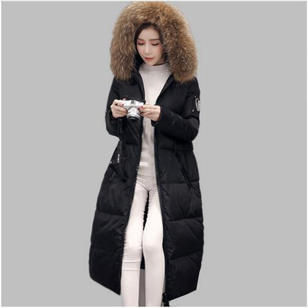 ФОТО Fashion Long Thick Warm Winter Women Down Jacket Cotton Plus Size High Quality Fur Collar Slim Ladies Coat Women Overcoat Parka