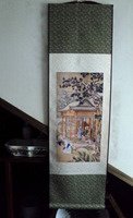 Chinese scroll painting Silk painting Qianlong snow figure walking
