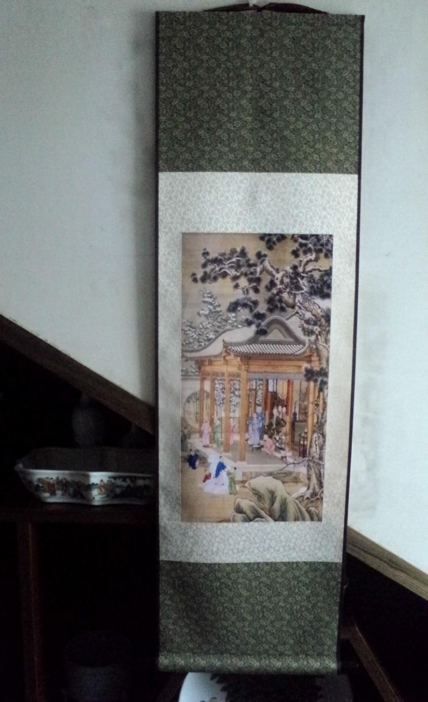 Peinture de défilement chinois-peinture sur soie Qianlong figure de neige marchant