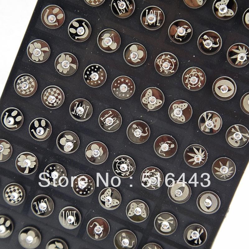 Hot Sale 72pcs 316L Black Stainless steel Rhinestones Women Mens Stud Earrings Wholesale Jewelry Lots A-769