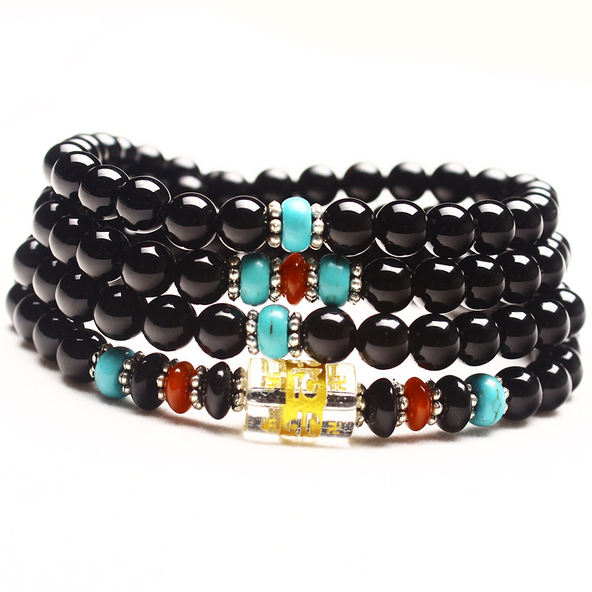 Wholesale 6mm 108 Beads Natural Black Agat e Round Bead Charms Lucky Gift Bracelets Bangles for Women Crystal Jewelry