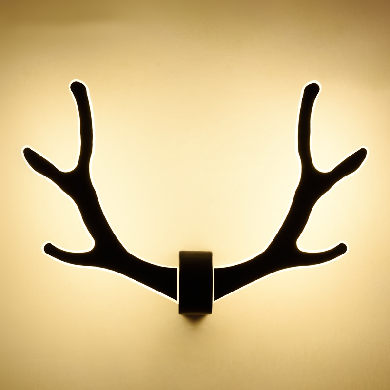 Nordic Modern minimalist antler wall lamp bedroom bedside lamp aisle staircase Source living room deer head wall lamp Lighting led modern minimalist nordic creative wall lamp led living room bedroom bedside staircase aisle wood wall lamp home lighting