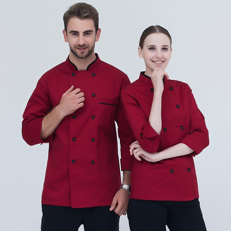 Adult Hotel Chef Uniform Uniform Long-sleeve Men's Fashion Chef Jacket Adult Western Restaurant Kitchen Jacket Staff  B-6483