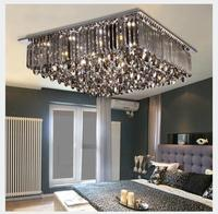Newly Modern LED Crystal Ceiling Lamp Modern Square SmokeyCrystal Ceiling Lamp Flush Mount Lighting for Office Home Decoration