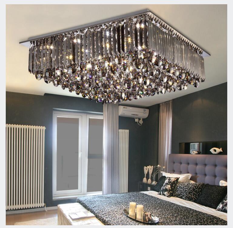 Nouvellement moderne plafonnier à LED en cristal lampe moderne carré SmokeyCrystal plafonnier encastré éclairage pour bureau décoration de la maison