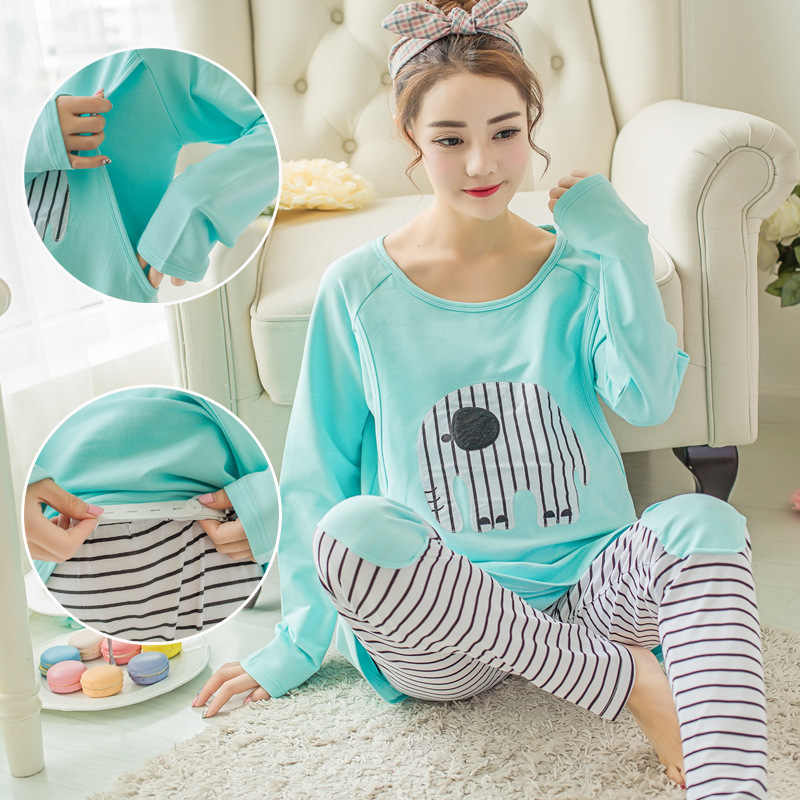 5a43cc64721fd breastfeeding pajamas breast feeding nightwear maternity nursing pajama  sets maternity nursing sleepwear pregnancy pyjama winter
