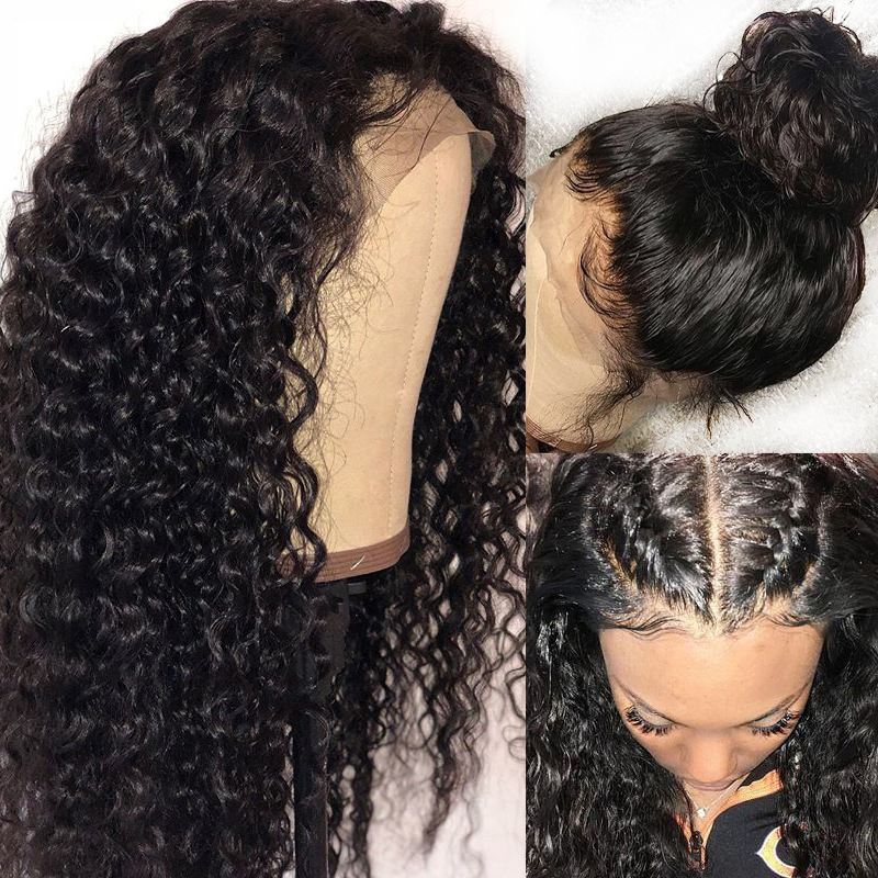 13x6 Deep Lace Front Human Hair Wigs Black Women Remy Malaysian Curly Closure 360 Lace Frontal Wig Pre Plucked with Baby Hair-in Human Hair Lace Wigs from Hair Extensions & Wigs    1