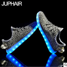 JUPHAIR Свет Случайные Люди Мальчик Мужчины Мода Красочные Взрослых Яркий Мужской Обувь USB Аккумуляторная Плоским Chaussure Homme Продаж на